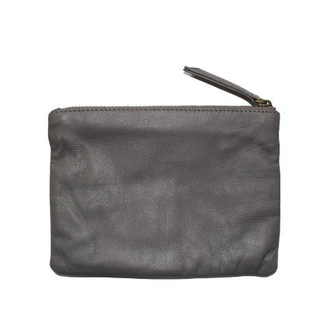 Corner Store Grey Lilac Leather Zip Purse