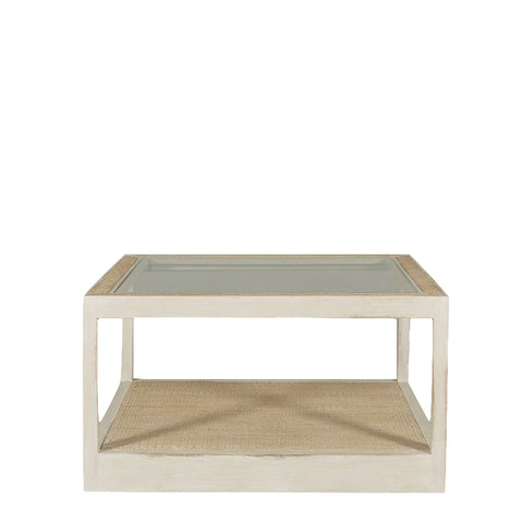 Viognier Mirrored and Rattan Coffee Table