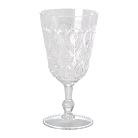 Swirly Embossed Wine Glass Acrylic Clear