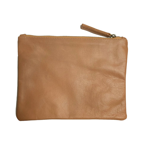 Large Pink Nude Leather Clutch Purse