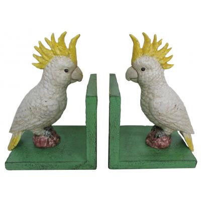 Cast Iron Cockatoo Bookends Green Base