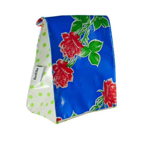 Oilcloth Lunchbag in Roses Blue