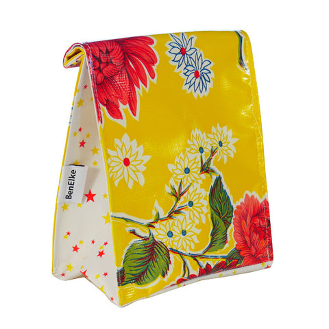 Oilcloth Lunchbag in Yellow Mums