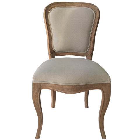 Lenoir Chair Gris Natural Fully Upholstered in Grey Cotton