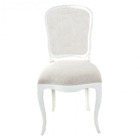Lenoir Chair Antique White Fully Upholstered Ecru