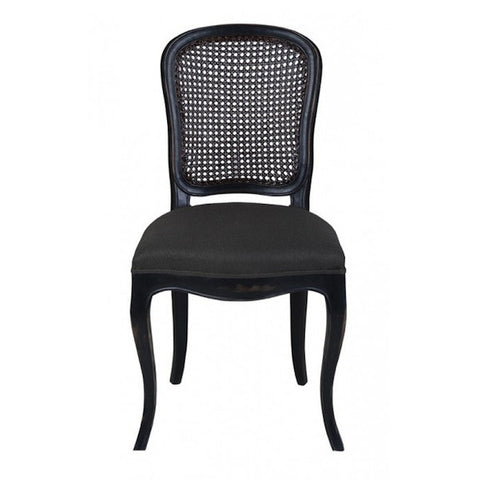 Lenoir Chair Rattan Back and Upholstered Seat in Ebony with Charcoal Upholstery