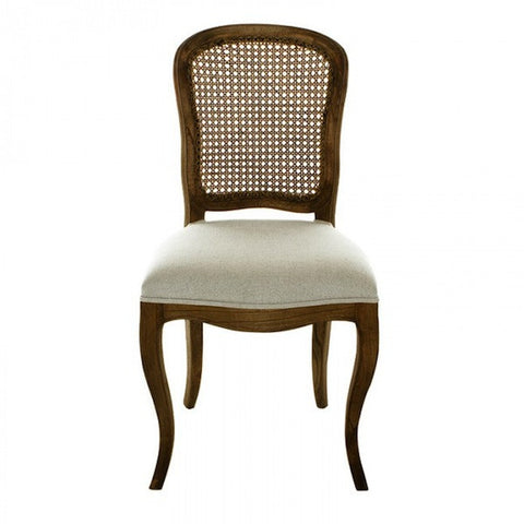 Lenoir Chair Rattan Back and Upholstered Seat in Natural and Ecru Linen