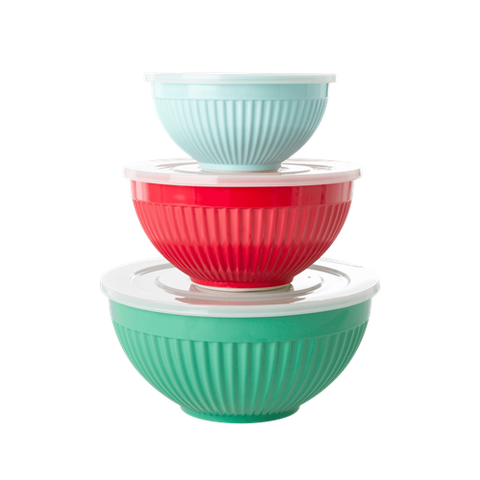 Melamine Bowls Set of 3 in 'Believe in Red Lipstick' Colors