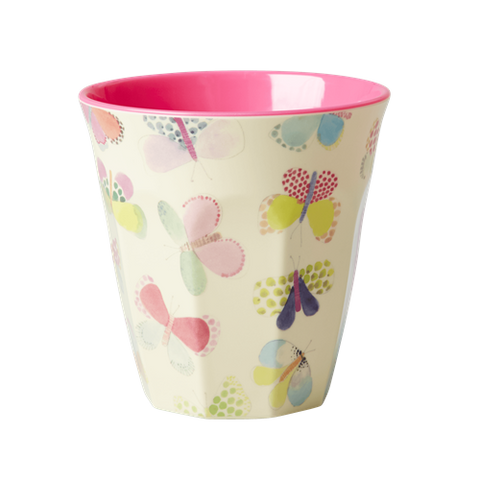 Medium Melamine Cup Two Tone with Butterfly Print