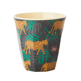 Melamine Cup with Leopard and Leaves Print - Medium