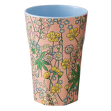 Melamine Cup with Lupin Print - Coral - Two Tone - Tall