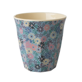Melamine Cup with Small Flower Print - Two Tone - Medium