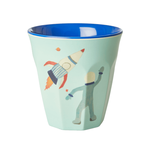 Melamine Cup with Space Print - Two Tone - Medium