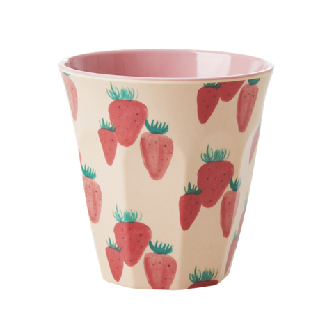 Melamine Cup with Strawberry Print - medium