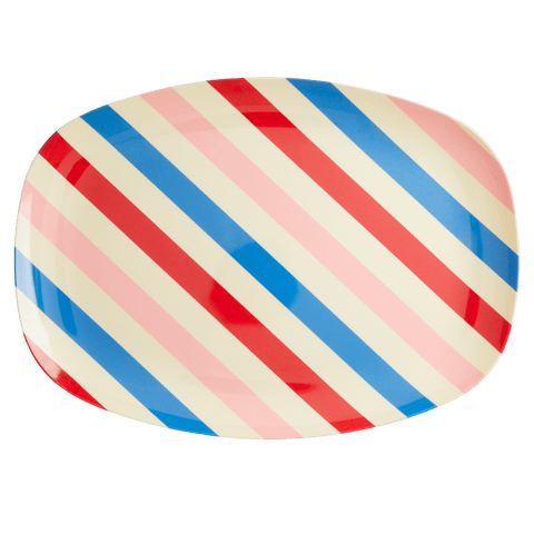 Melamine Rectangular Plate with Candy Stripes Print