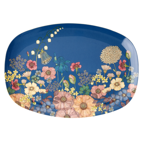 Rectangular Melamine Plate with Flower Collage Print