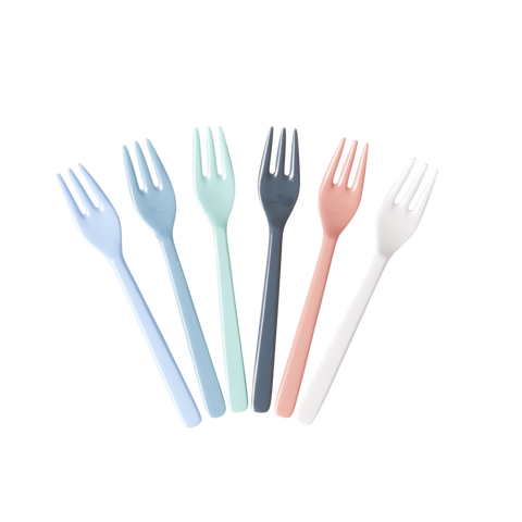 Melamine Cake Forks in Assorted 'Happy 21st' Colors - Bundle of 6