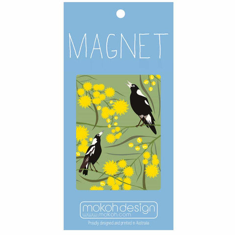 Magpies on Wattle Magnet
