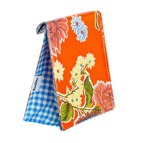 Oilcloth Lunchbag in Orange Mums