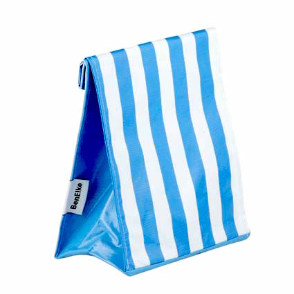 Oilcloth Lunchbag in Blue Stripes