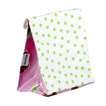 Oilcloth Lunchbag in Green Polka Dots