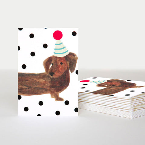 Sausage Dog Party Hat Card