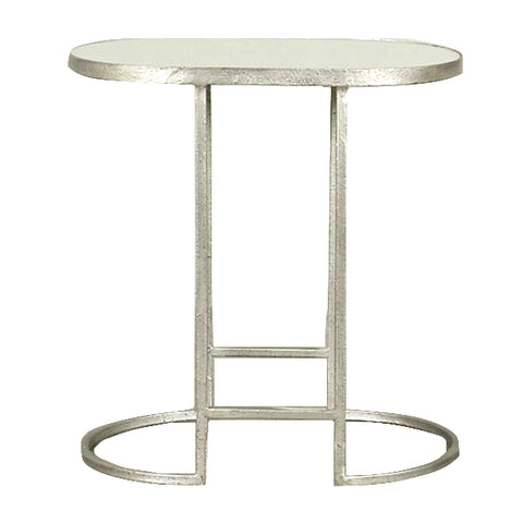 Boule Mirrored Oval Side Table Pewter