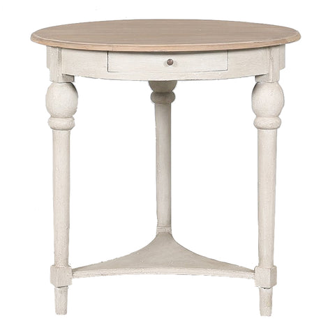 Rostino Round Side Table in Rustic Cream with Natural Top