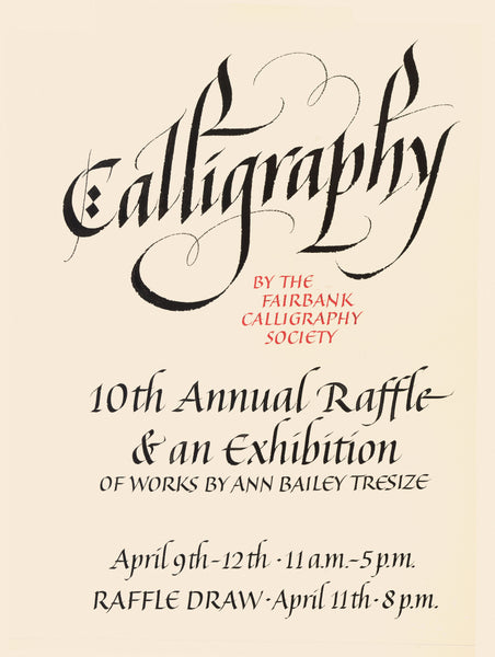 10th Annual Calligraphy Raffle poster