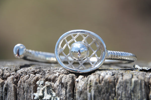 Polocrosse bangle with silver ball