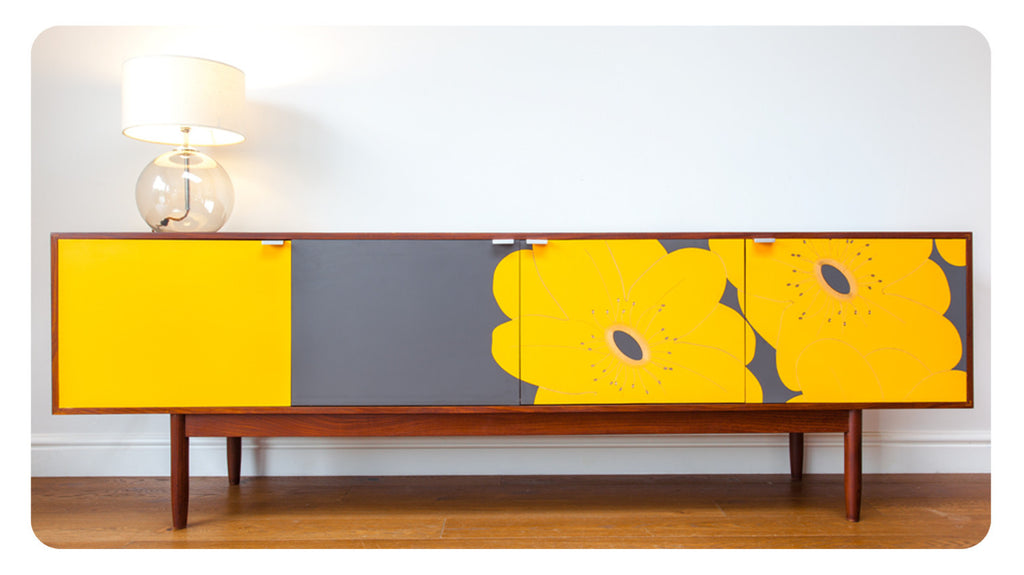 Gold/Grey Japanese Plum Sideboard
