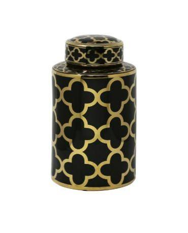 Black & Gold Petals Jar 12""