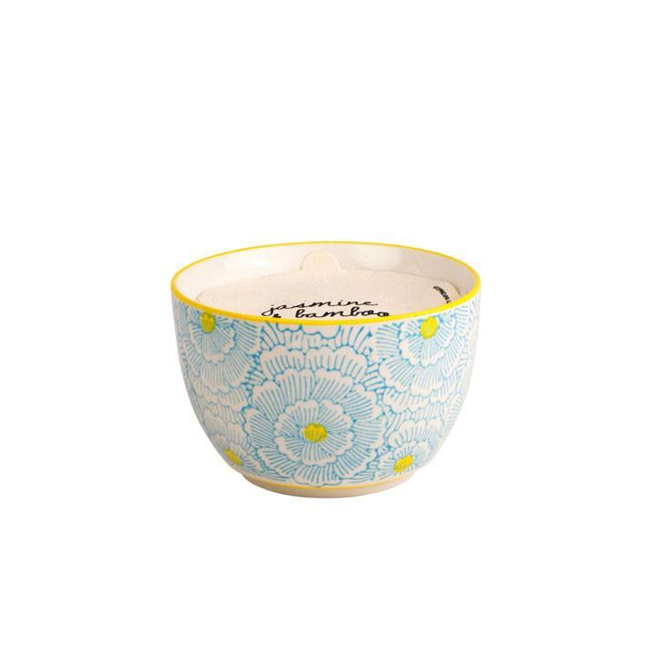 Hand Painted Candle Bowl - Jasmine & Bamboo 12.5oz