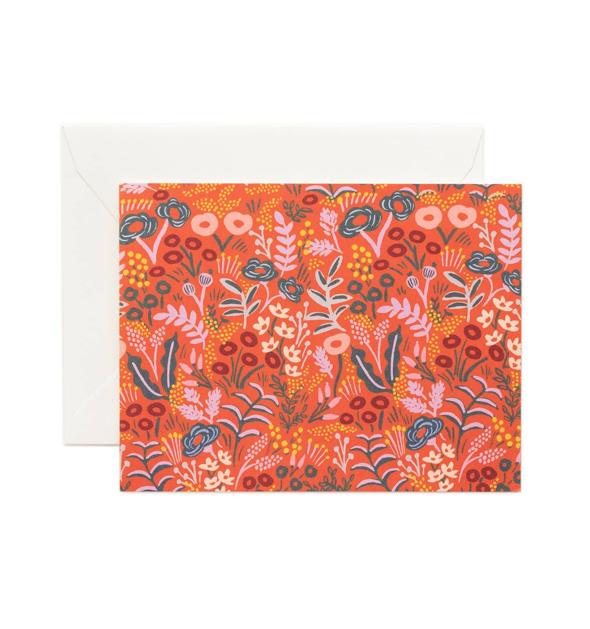 Tapestry Red Single Greeting Card