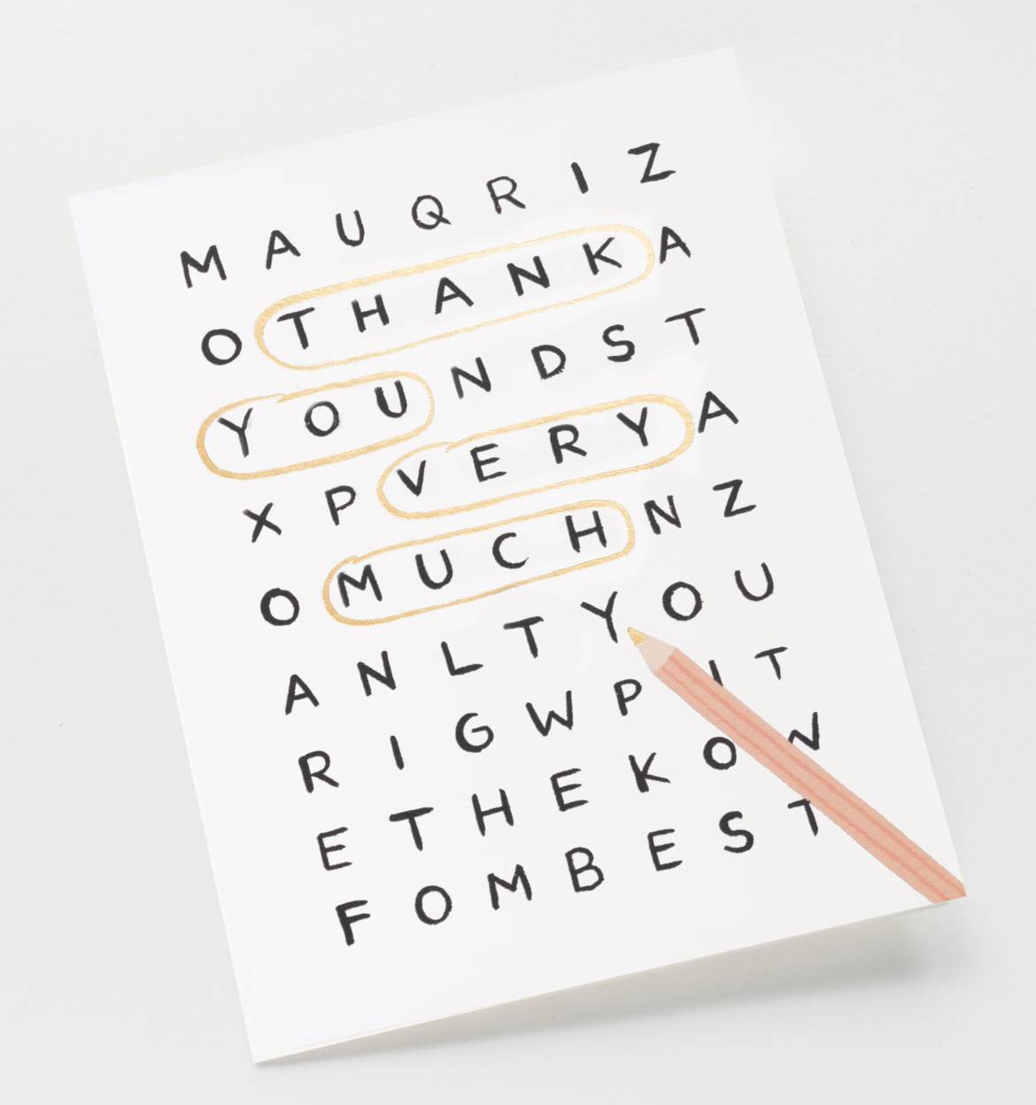 Word Search Thank You Single Card