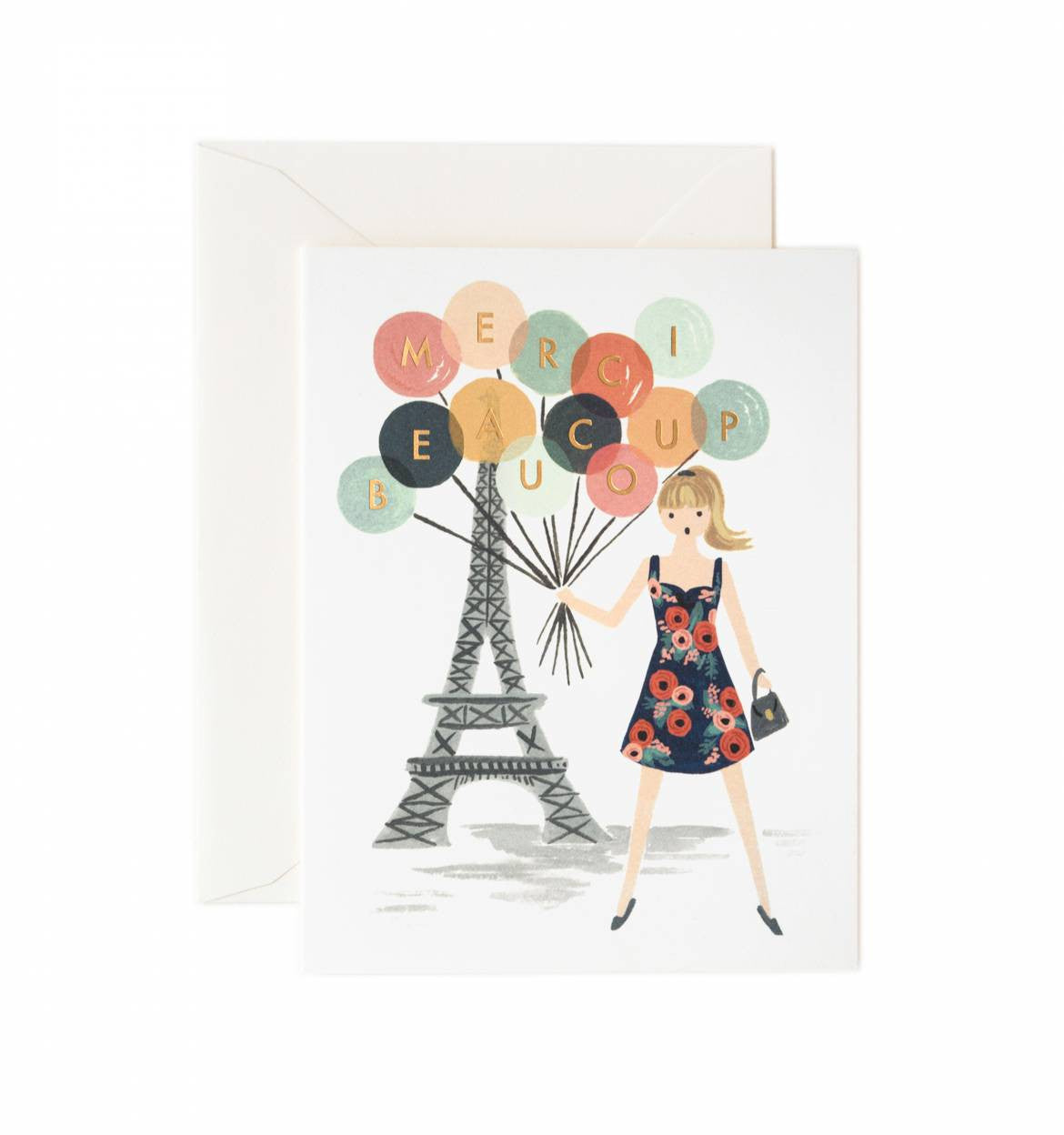 Merci Beacoup Single Greeting Card