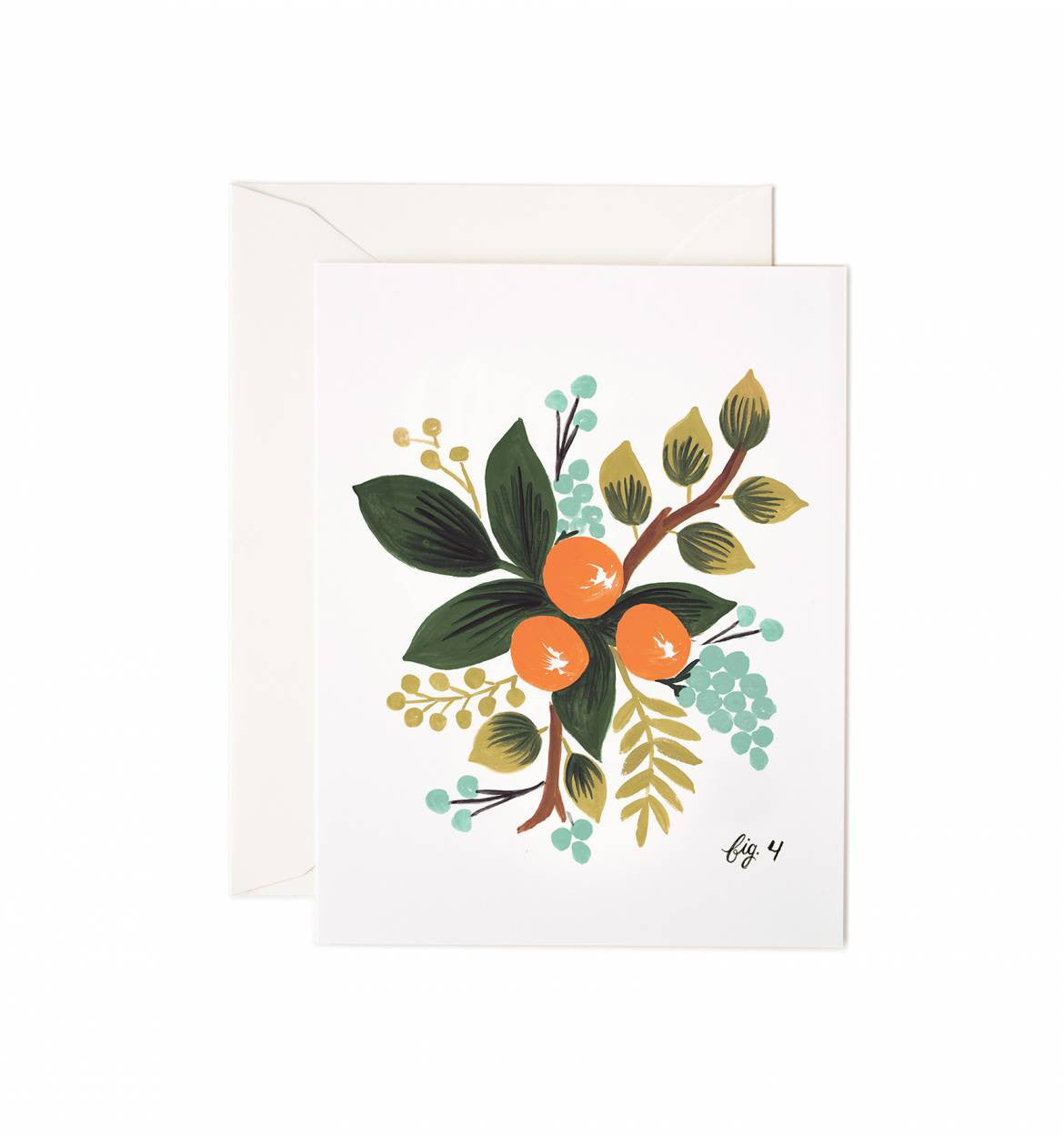 Clementine Floral Single Greeting Card