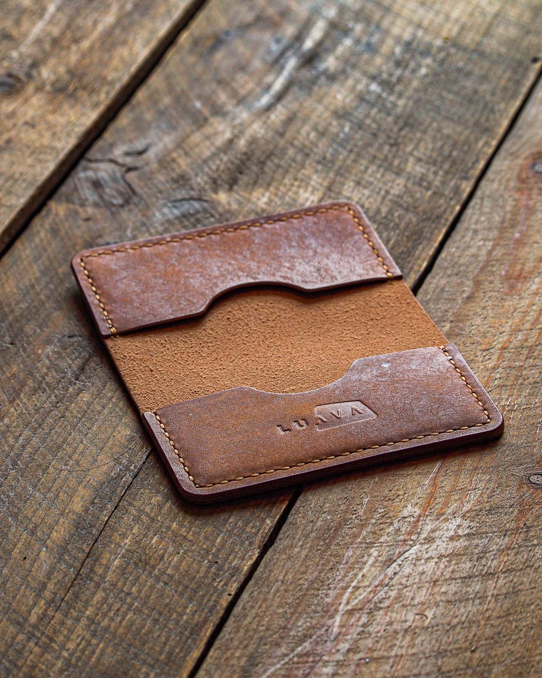 Luava handmade leather wallet handcrafted journeyman card holder cardholder pecos raw whiskey back open