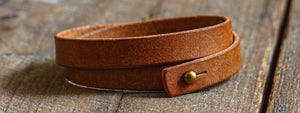 Luava handcrafted leather triple wrist band badalassi carlo pueblo cognac handmade in finland made to order