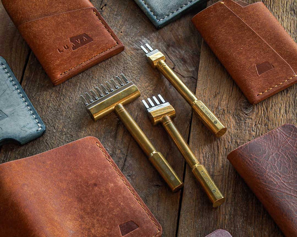 Luava wallet leather working tools for a beginner sinabroks flat pricking iron stitching punch