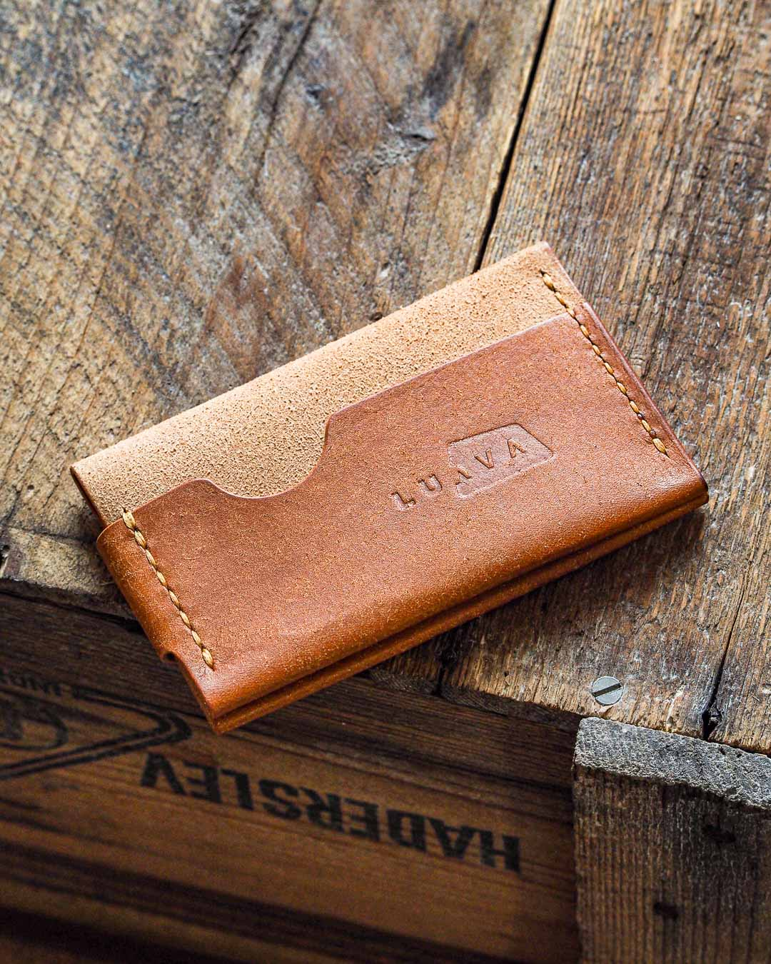 Luava handmade leather wallet handcrafted card holder cardholder made in finland flat badalassi carlo pueblo cognac back