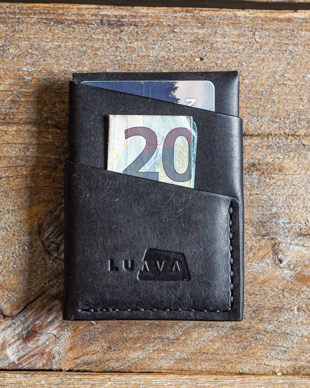 Luava handmade leather wallet handcrafted card holder cardholder made in finland overfold pueblo black back in use
