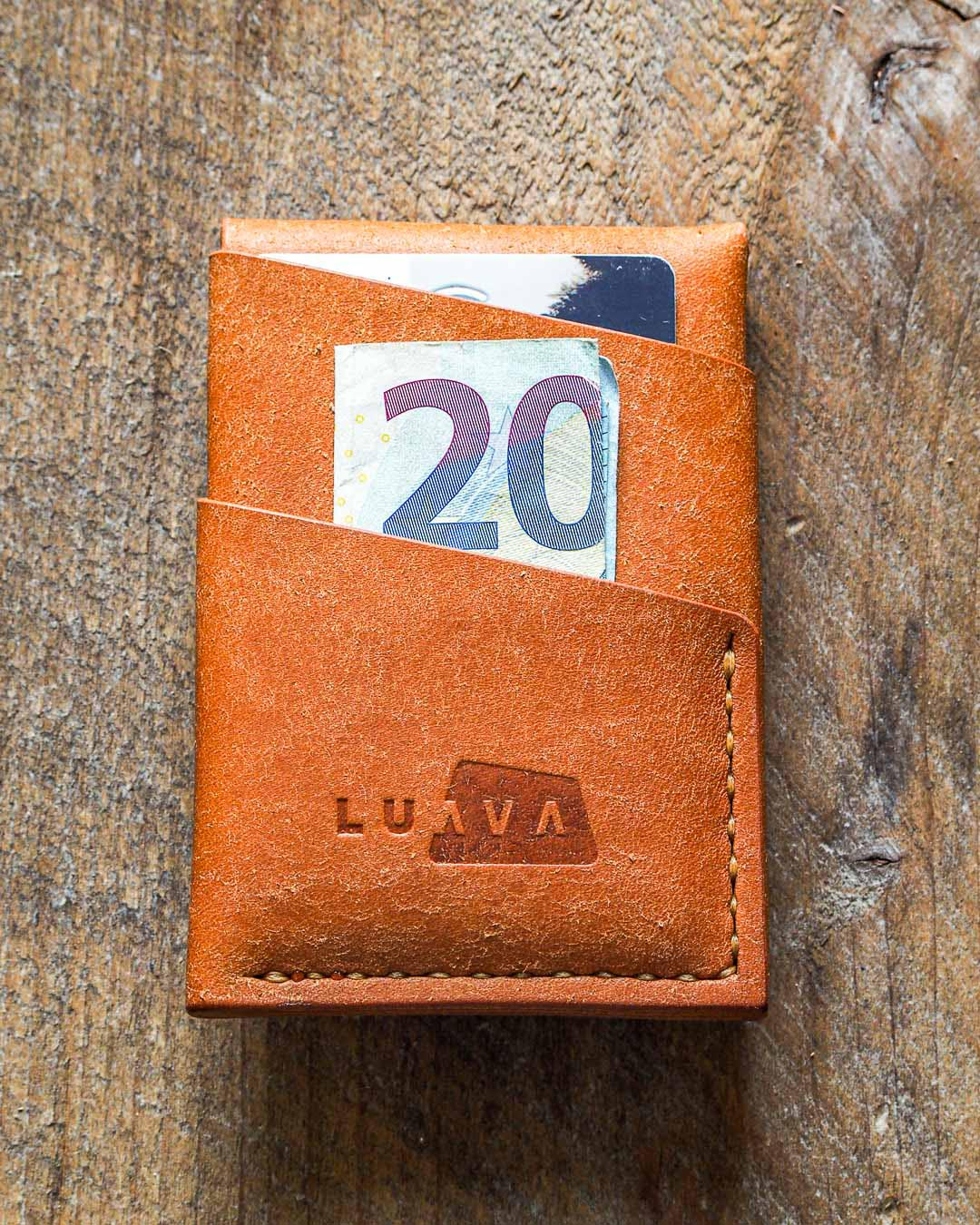 Luava handmade leather wallet handcrafted card holder cardholder made in finland overfold badalassi carlo pueblo cognac back in use