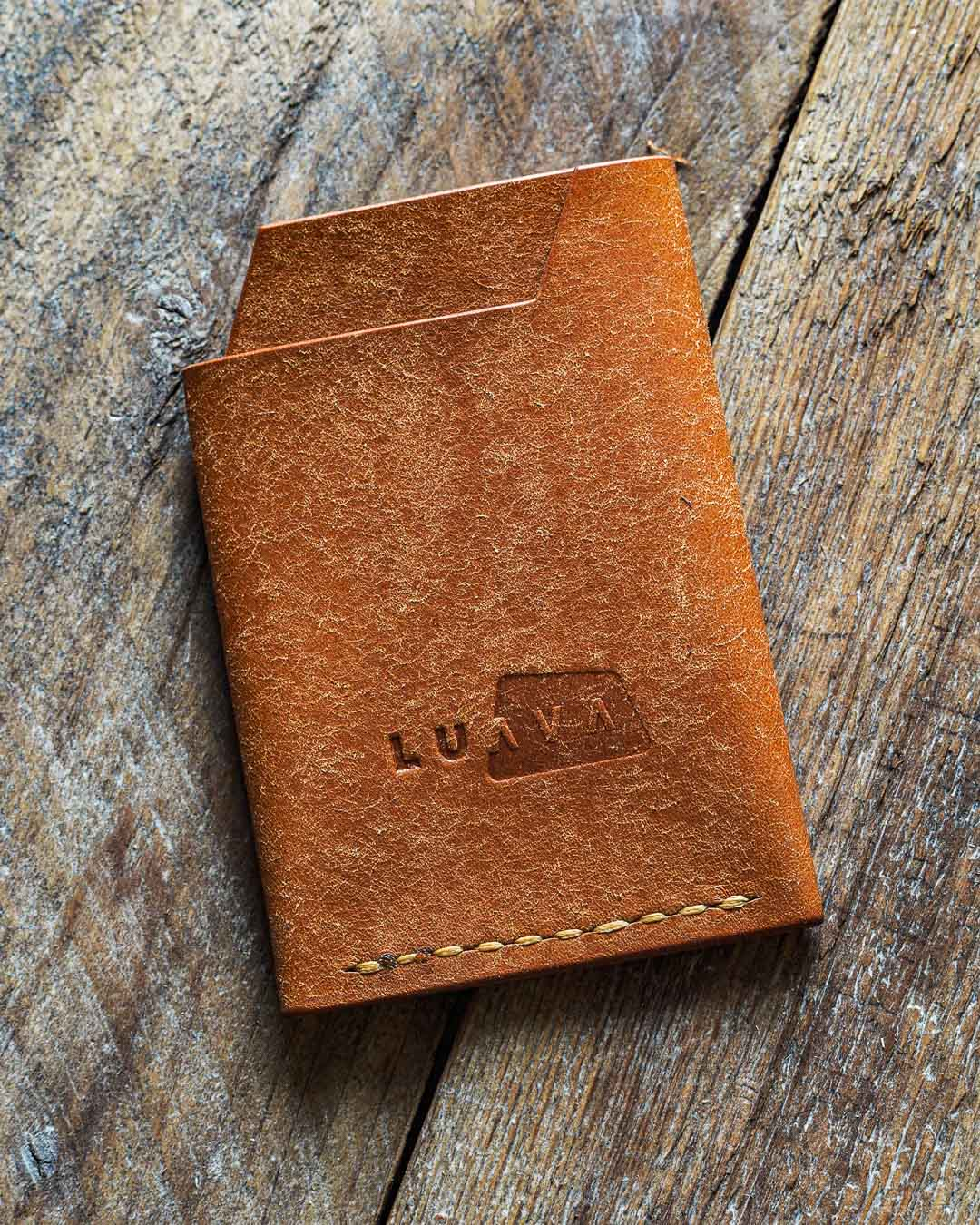 Luava handmade leather wallet handcrafted card holder cardholder made in finland vortex badalassi pueblo cognac back in use