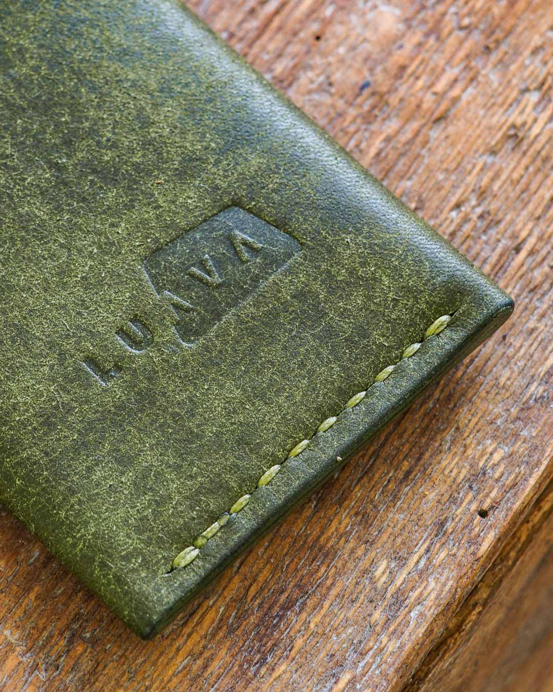 Luava handmade leather wallet handcrafted card holder cardholder made in finland vortex pueblo olive back logo detail