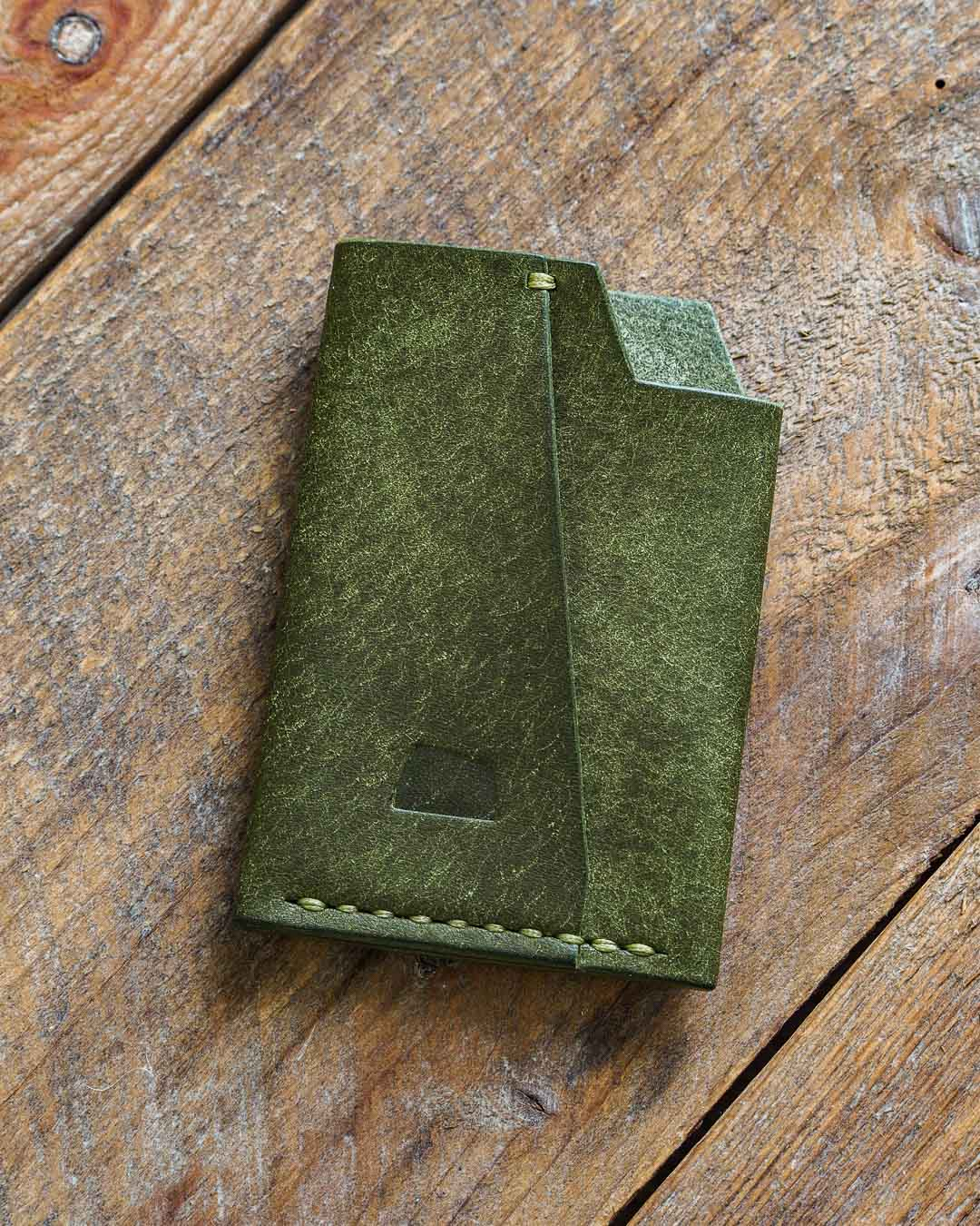 Luava handmade leather wallet handcrafted card holder cardholder made in finland vortex pueblo olive front