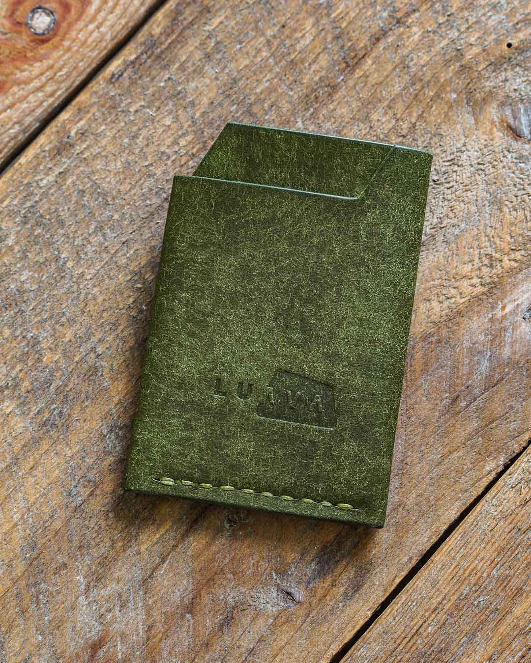 Luava handmade leather wallet handcrafted card holder cardholder made in finland vortex pueblo olive back