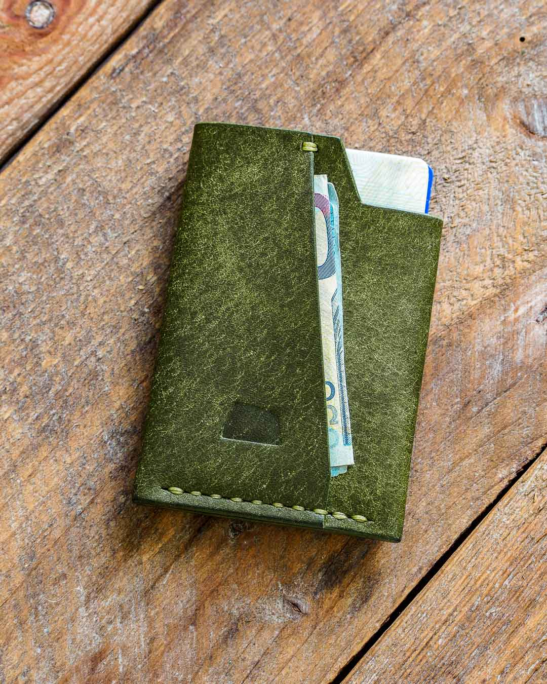 Luava handmade leather wallet handcrafted card holder cardholder made in finland vortex pueblo olive front in use