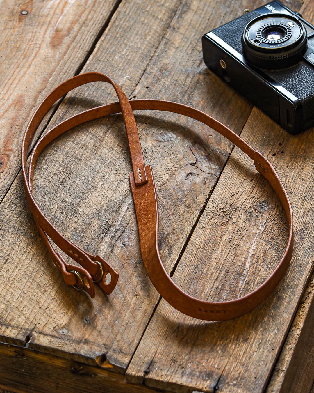 Luava handcrafted leather camera strap wide neckpad pueblo cognac