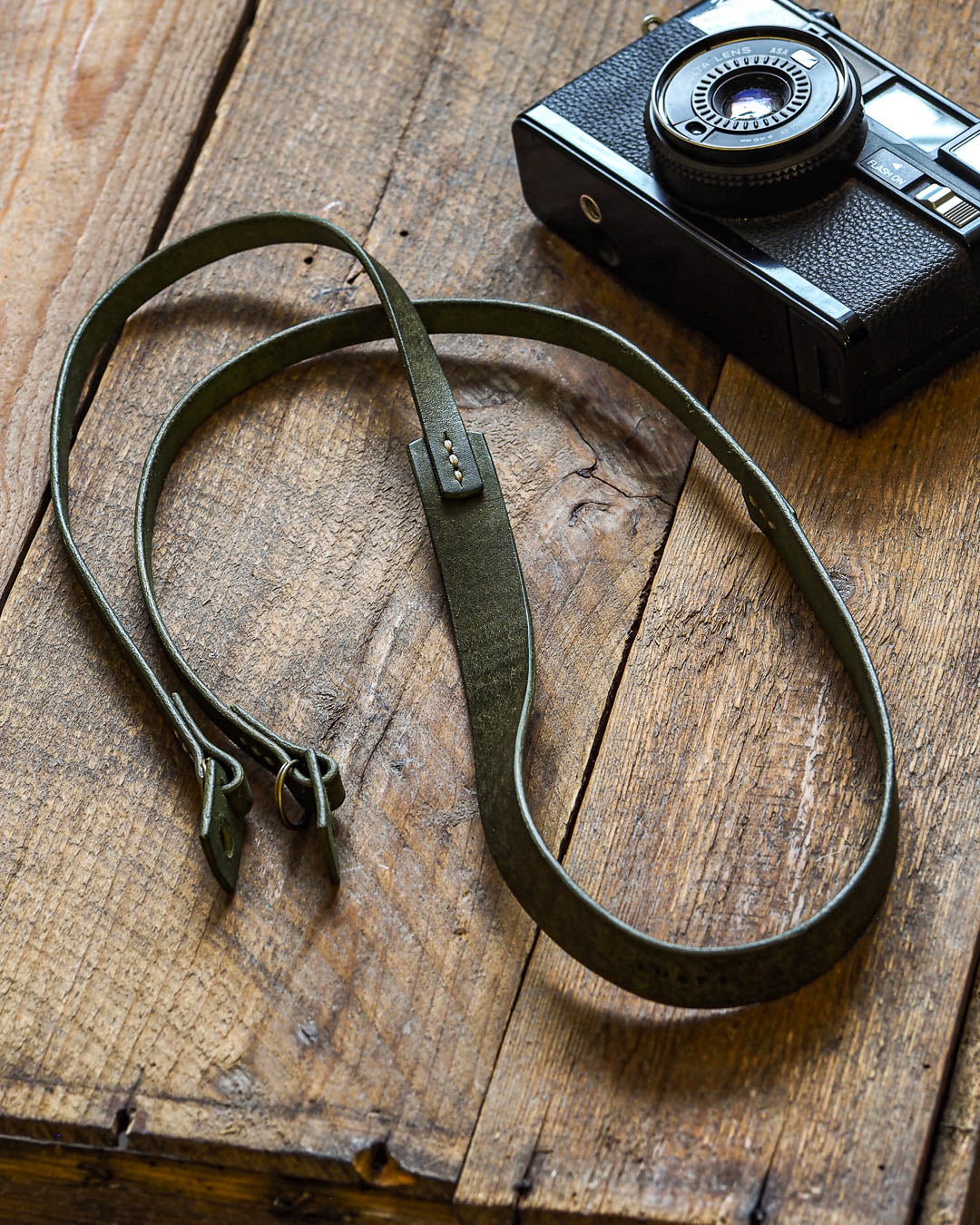 Luava handcrafted leather camera strap wide neckpad pueblo olive
